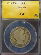 TMM* 1914 Certified Silver Barber Half  Dollar ANACS G6