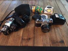 Canon AV-1 & AE-1 Tested Huge Bundle Lot Zoom Lens, Flash, Close Up, Film, Case