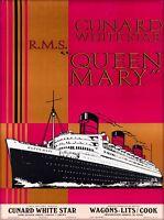 1930s England Queen Mary Ocean Liner Art Travel Advertisement Poster Print