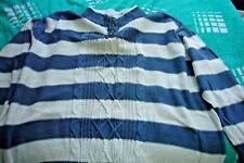 sehr großer Herrenpullover Langarm blau/weiß Gr. 72/74  von John Baner