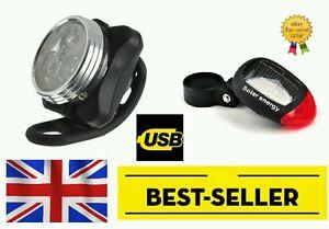 front rechargeable rear solar led lights set - bright lamp road bike UK STOCK