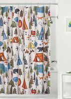 Camping Fabric Shower Curtain 70x72 Lodge Cabin Woods Woodland Northwoods Bear