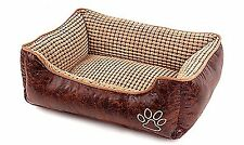 New Luxury Reversible Dog Pet Bed Leather Waterproof Washable Furniture - Small