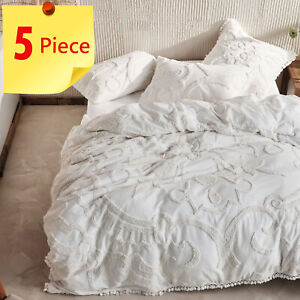 Linen House Rapallo White chenille 5 Piece Doona Quilt Cover Set | Super King