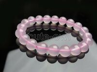 AAA+ 10mm Natural Pink Rose Quartz Crystal Round Gemstone Stretch Bracelet