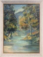 Oil on board by Mervyn Denton Burgess. Trees by a lake