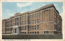 C67/ Akron Summit County Ohio Postcard c1910 West High School Five Points