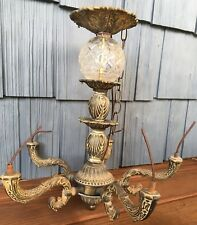 Vtg Cut Glass Globe & Metal Chandelier - As Is - Repurpose, Restore