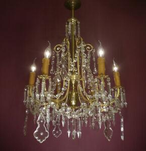 "ANTIQUE 6 LIGHT SHINY BRASS LAMP CHANDELIER LEAD CRYSTAL  Ø 31"" original gaslamp"