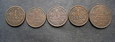 5 COINS NETHERLANDS (3) 1919 ONE 1 CENT / (1)- 1914 1 CENT/ (1)- 1919 2 1/2 CENT