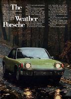 Green Porsche 914 Sports Car THE WEATHER PORSCHE Fiberglass Roof 1973 Print Ad