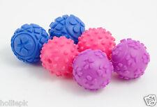 6 piccolo morso VINYL Squeak Cucciolo di piccole razza giocattolo palline di trama Blu Rosa & Viola