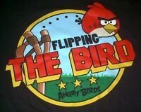 MENS T-SHIRT LARGE ANGRY BIRDS FLIPPING THE BIRD RED GRAPHIC TEE GAME THREE STAR