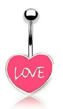 """Pink Love"" Logo 14G Belly Ring Body Jewellery"
