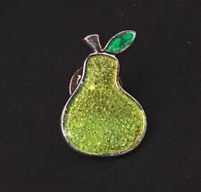 FUNKY VIBRANT GREEN GLITTERY PEAR-SHAPED METAL BADGE BROOCH TRENDY (ZX22/187)