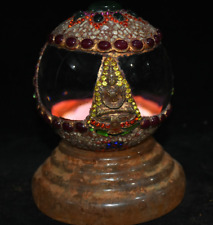 "7"" Rare Old Tibet Buddhism Crystal Gem Hand Carved Buddha Ball Base Set Statue"