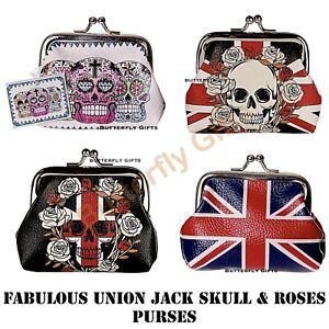 Union Jack Purse Skulls and Roses Tic Tac Change Coin Purse Skull Cross Purse
