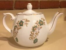 Vintage Ellgreave White with Teal Blue and Gold Floral Design Tea Pot