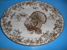 WILLIAMS SONOMA BOTANICAL THANKSGIVING PLYMOUTH TURKEY PLATTER PLATE OVAL 16""