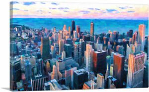 ARTCANVAS Chicago Illinois Cityscape Skyline with Blue Sky Canvas Art Print