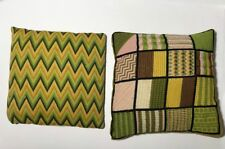 Handmade Needle Point Lot 2 Pillows Zigzag 11x11 Square Green Yellow Block VTG P
