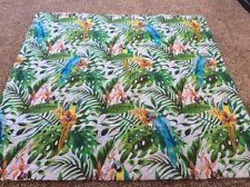 Parrot parrots tropical leaves green blue orange remnant fabric piece 95x95cm