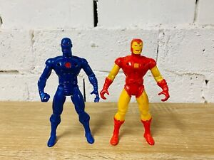 """Iron Man Toybiz 1995 Blue Red Yellow Suit 9"""" Action Figure Stealth Armour Lot"""