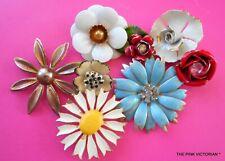 Vintage Jewelry Craft Lot,Flower Pins,Single Earrings,Collage,Art Design,Bouquet
