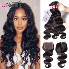 UNice Brazilian Body Wave Human Hair 3 Bundles With Closure 100% Remy Human Hair