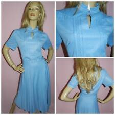 70s does the 40s POWDER BLUE ACCORDION PLEAT DAY DRESS 16 L 1970s WARTIME WW2