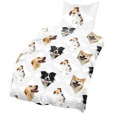 Hunde Bettwäsche 135x200 & 80x80 cm Hund grau weiß Microfaser B-Ware Set