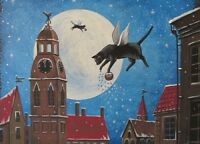 5x7 PRINT OF PAINTING RIGA RYTA XMAS BLACK CAT ANGEL VINTAGE STYLE FOLK ART MOON