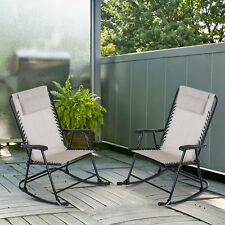 Outsunny Mesh Outdoor Patio Folding Rocking Chair Set Porch Lawn Furniture -