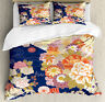 Japanese Duvet Cover Set with Pillow Shams Traditional Flowers Print