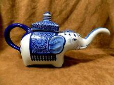BLUE AND WHITE FIGURAL TEA POTS--ELEPHANT