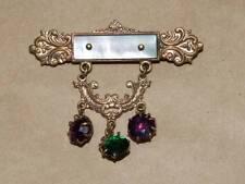 VTG ANTQ Gold Plate Scrolled MOP Bar Swag Pin Brooch w/ 3 Rhinestone Tassel Drop