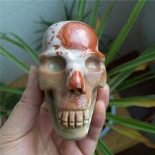Rare!!! 484g  Natural Ocean Jasper stone carving skull Healing #6