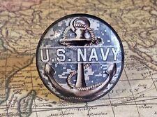 "4 Handmade U.S. Navy Birch Wood Knobs, 1.5"" Military Cabinet Pull Knob Handles"