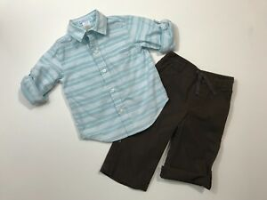 JANIE AND JACK Dinosaur Days Striped Shirt & Roll Up Pants Outfit 12-18 Months