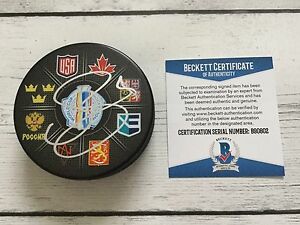 Filip Forsberg Signed 2016 World Cup of Hockey Puck Beckett BAS COA Predators b