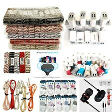 100 Phone Accessories Premium Mix Lot Cables Chargers Earbuds Aux Wholesale Bulk