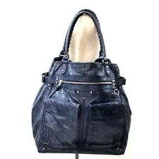 AUTHENTIC BALENCIAGA Classic Cube Leather Duffle Bag Tote Bag Navy