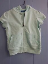 Green dog Girl's Kids Pale Green Short Sleeve Zip-Up Hoodie Shirt Size 7-8