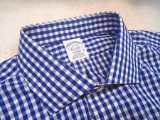 Brooks Brothers Easy Care Cotton Blue Gingham Check Dress Shirt NWT 17-34 $92