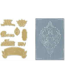 Sizzix Merry Christmas Framelits 8 dies &2 Embossing Folders Ornament Set 657974