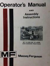 Massey Ferguson Mf 14 & 16 Riding Lawn Garden Tractor & Mower Operators Manual
