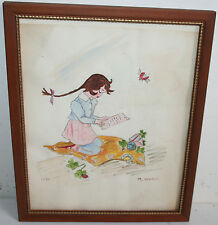 1956 Old Folk Art Watercolor Painting Ladybug Watching Girl Reading