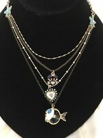 BETSEY JOHNSON Shell Shocked Blow Fish Blue Bead Illusion Necklace Or Choker