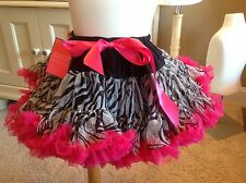 NWT Tutu Couture Zebra Print Hot Pink Tutu Size Small Dance Holiday Dress kklu