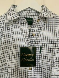 Country Classics - Tattersal Blue Fine Check Cotton  Country Shirt. Size 12. NEW